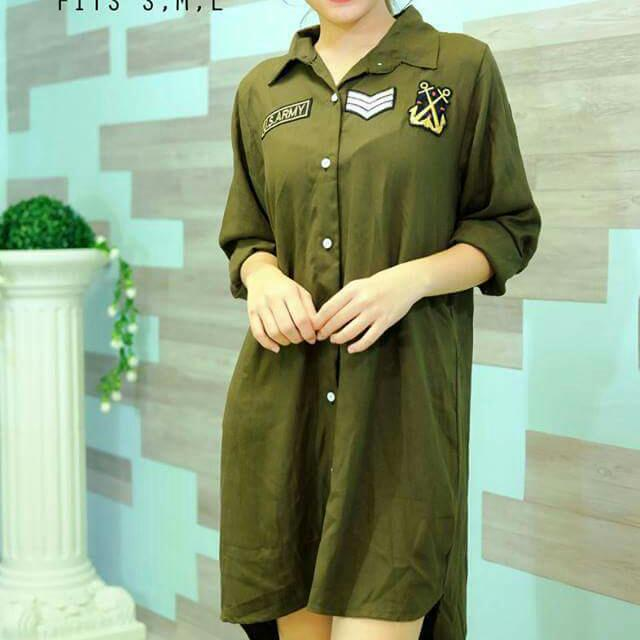 Green Button Down Dress With Patches