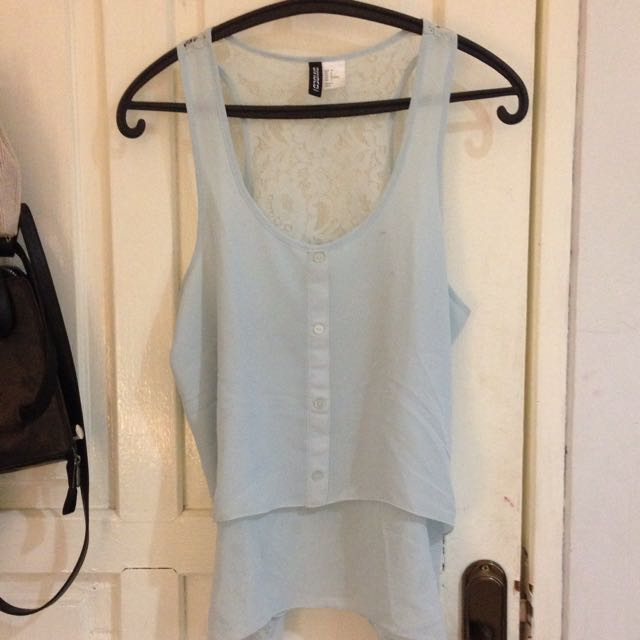 H&M Light Blue Crochet Tanktop