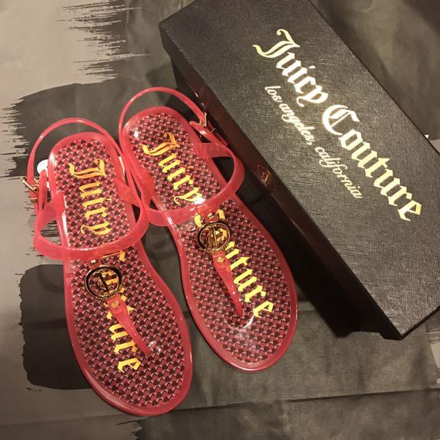 Juicy Couture 桃紅鑲金Logo果凍涼鞋✨
