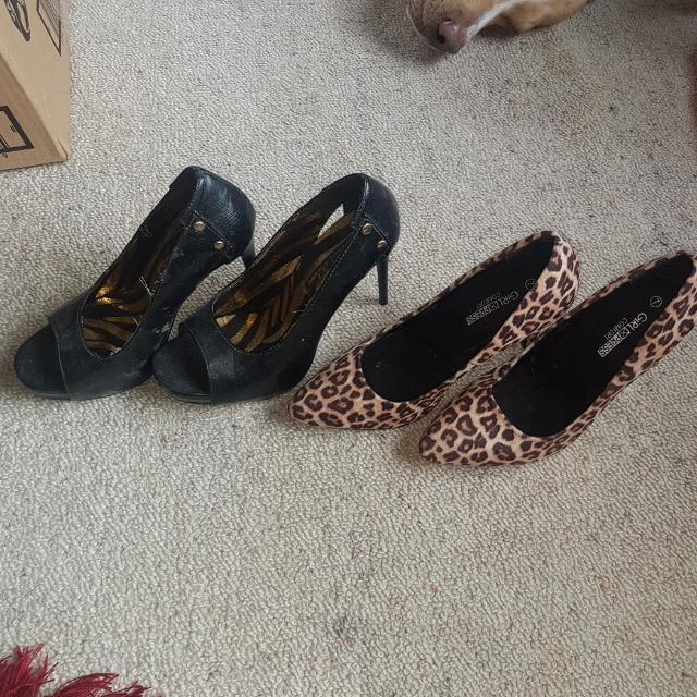 PRICE DROP..Leopard Print Heel And Black And Gold Zebra Print Heel
