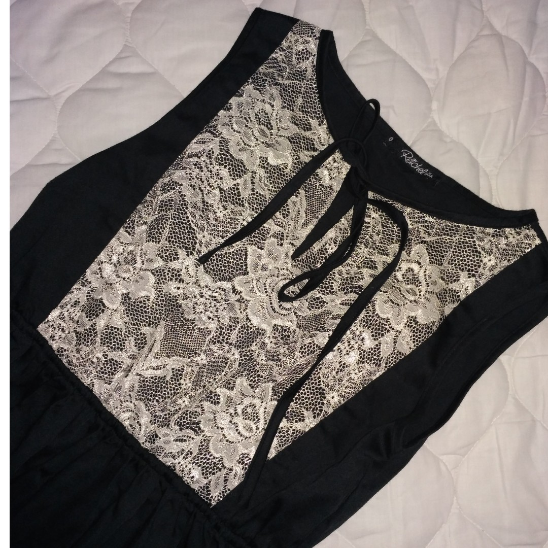 Little Black Dress with White Lace