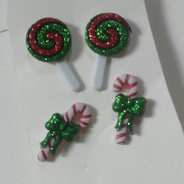 Lollipop And Candy Cane Earrings Set