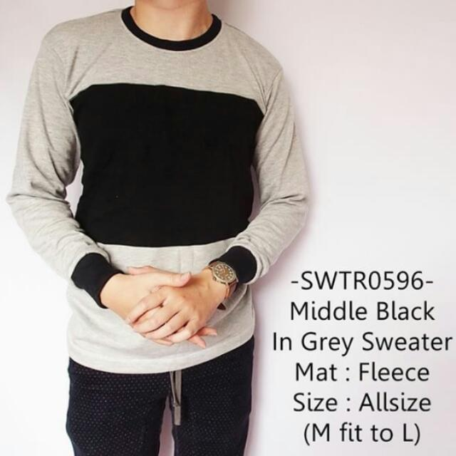 Middle Black In Grey Sweater