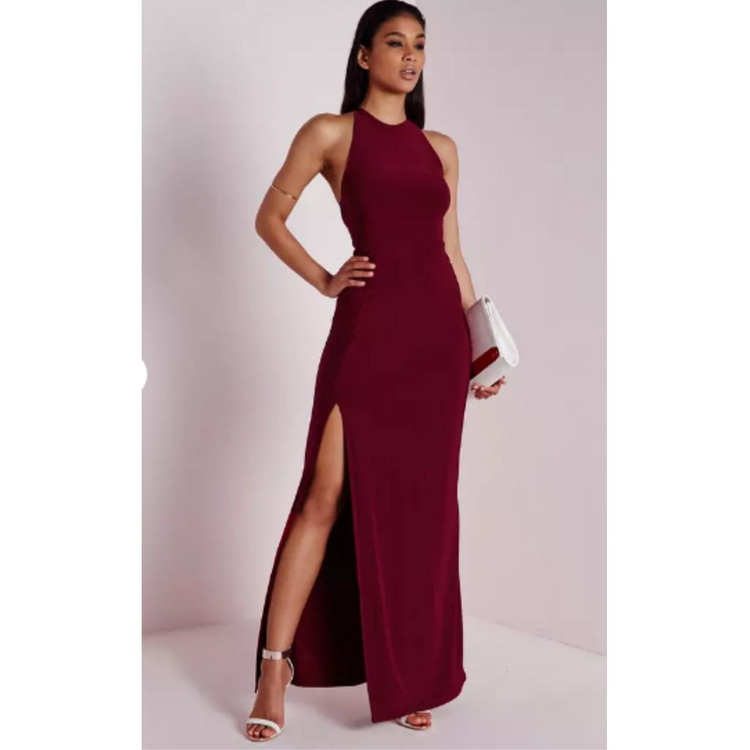 Missguided slinky side split maxi dress burgundy