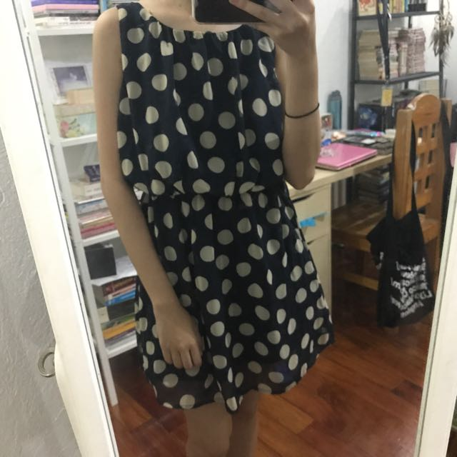 Navy/White Polkadot Dress