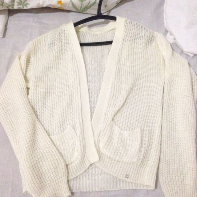 Knitted White Sweater Cardigan