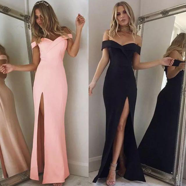 Off Shoulder V Neck High Split Maxi Dress Gown Cocktail