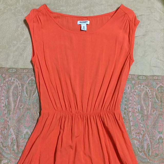 Old Navy Tangerine Pouf Dress