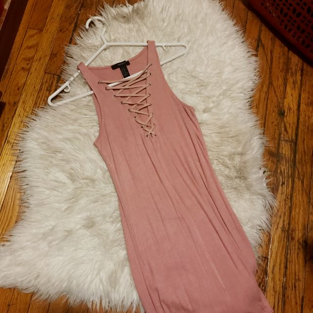 Pink Lace-up Bodycon Dress