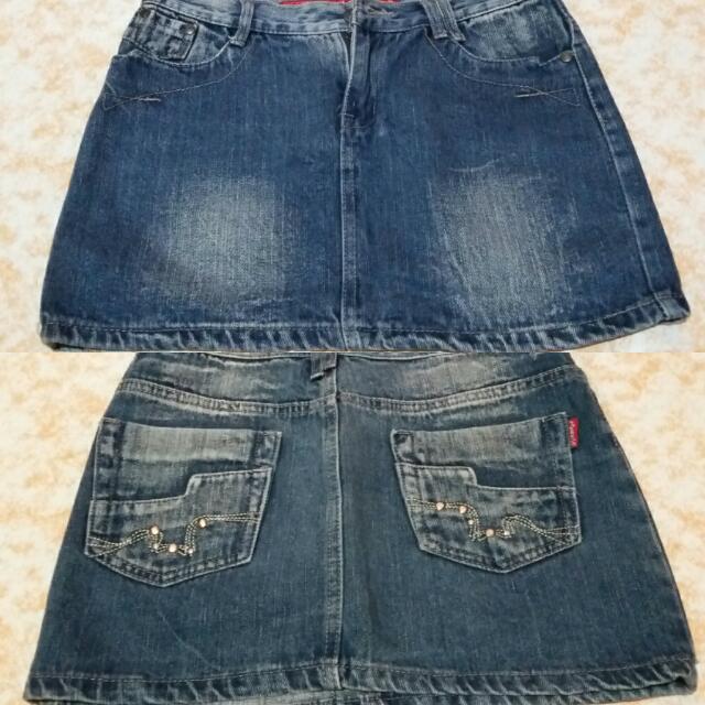 Preloved Acid Wash Denim Mini Skirt