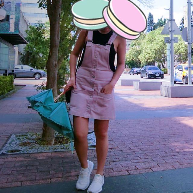 Pull & Bear 粉藕色牛仔連身裙