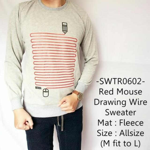 Red Mouse Drawing Wire Sweater