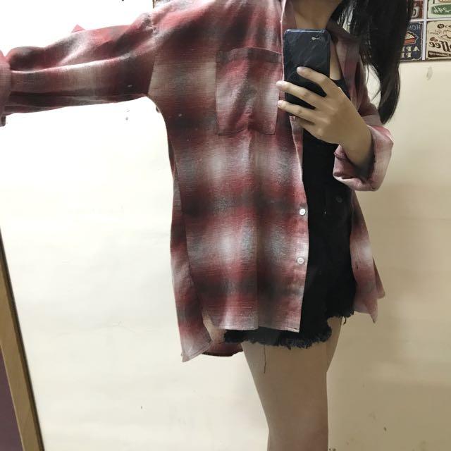 Roomee Oversize 紅格子襯衫