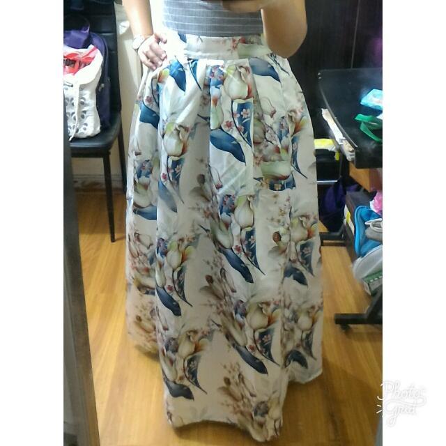 Satin Floral Maxi Skirt