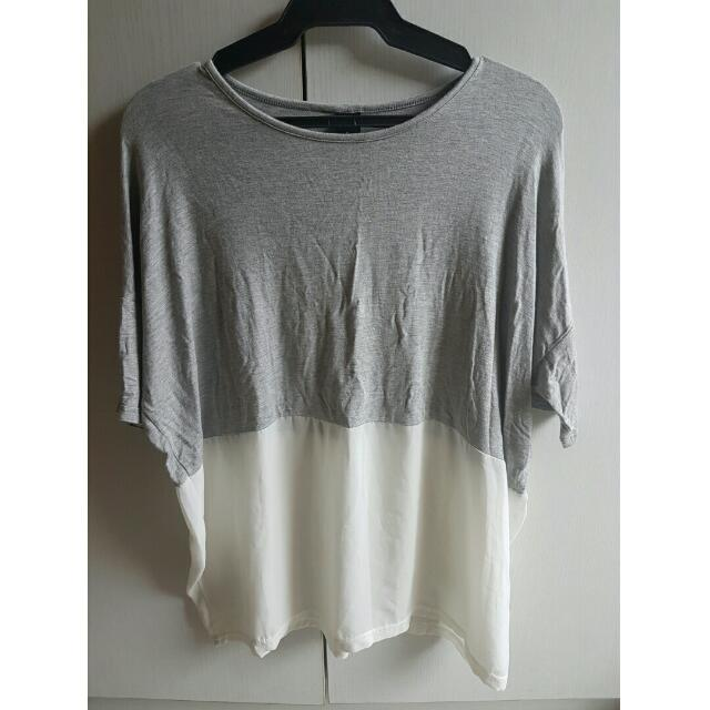 Showplay Gray And White Loose Top