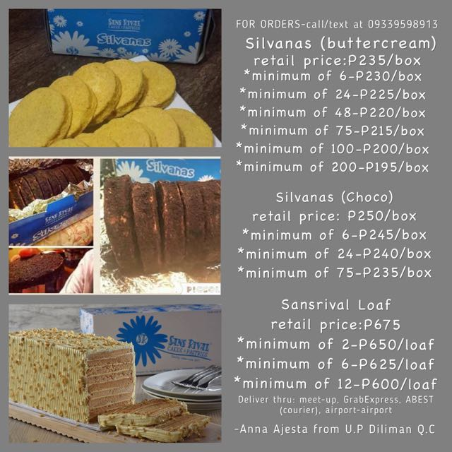 SILVANAS AND SANSRIVAL LOAF BY SANS RIVAL DUMAGUETE FOR SALE - Quezon City Distributor