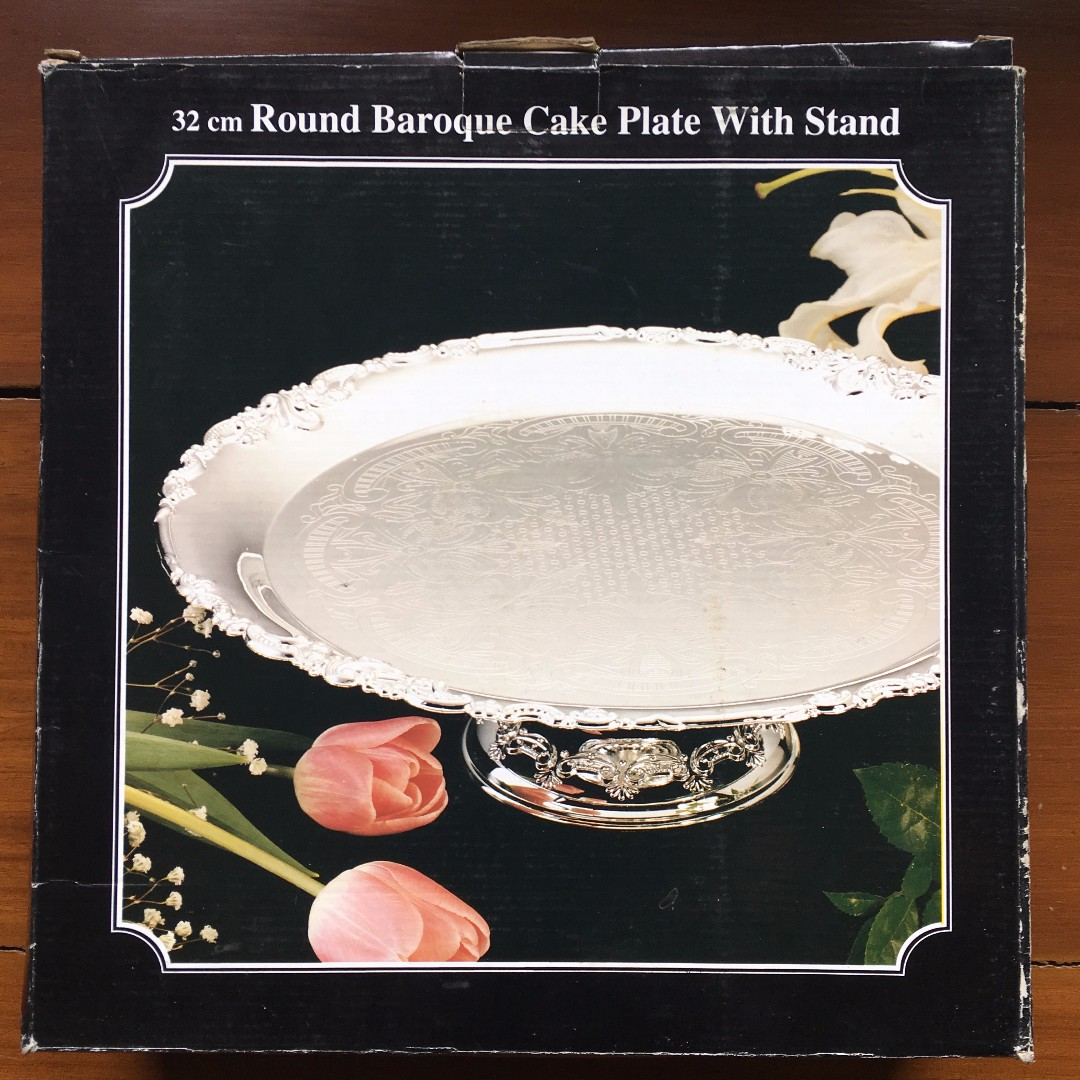 Silver-plated 32cm round baroque cake plate with stand