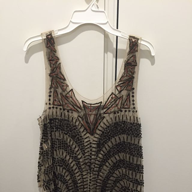 Sportsgirl Beaded Sequin Party Singlet Top Size L 12 14
