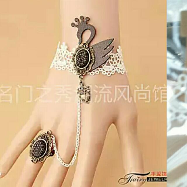 Swan Lace Bracelet With Ring