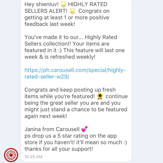 Highly Rated Seller...Thank You Carousell : )