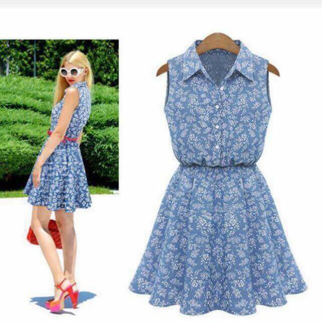 U.S. Style Denim Button-up Polo Dress