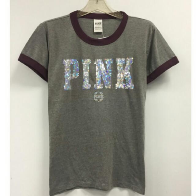 全新Victoria's secret 維多利亞的秘密 Pink 滾邊圓領上衣