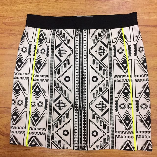 Zara Bodycon Black And White Bodycon Skirt