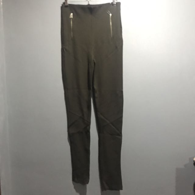 Zara dark olive high waisted pants