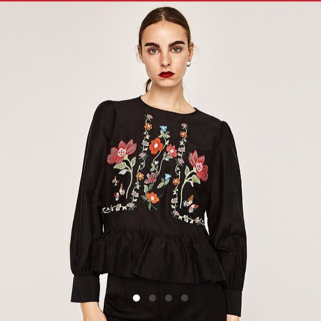 cb41570c02407c Zara Inspired Floral Embroidered Long Sleeve Top, Women's Fashion, Clothes,  Tops on Carousell
