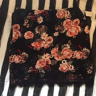 Laced Edge Floral Skirt
