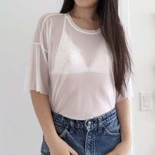 F21 White Mesh T-Shirt