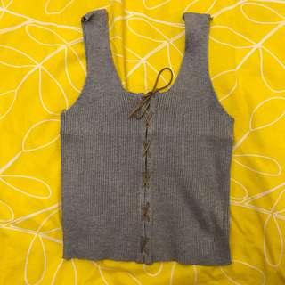 <<韓版春夏女裝>>短款綁帶修身顯瘦針織背心(灰)