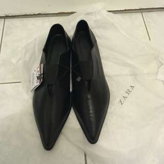 Zara Real Leather Pointed Flats