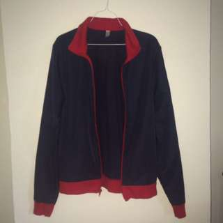 American Apparel Red And Navy Zip Up Jacket