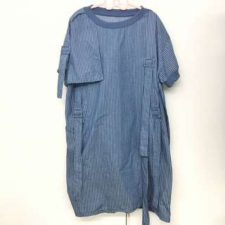 長版條紋洋裝 設計感上衣 個性 不撞衫