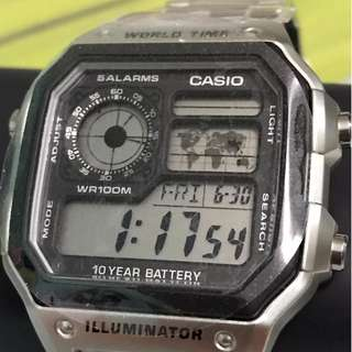 AUTHENTIC CASIO WATCH - Silver Digital with World Time