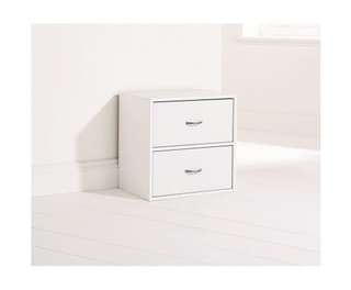 Storage Cube with 2 Drawers in White