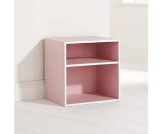 Storage Cube with 2 Shelves in Pink