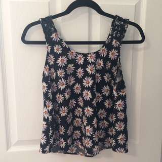 Daisy Crop Top With Lace Back
