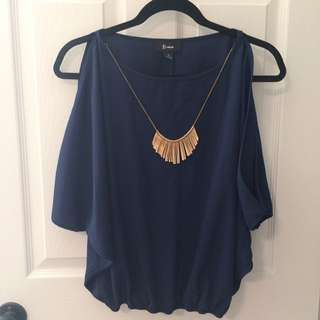 Navy Blue Cut-Out Chemise w/ Gold Necklace