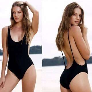Black one piece swimsuit low back and open sides