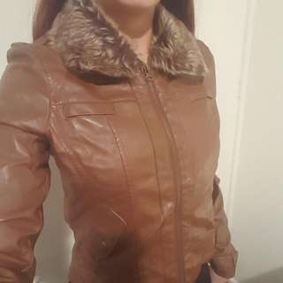 Brown Faux Leather Jacket With Fur Collar Size 10