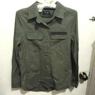 Army Green Button Down Polo (Parka Style) From Korea