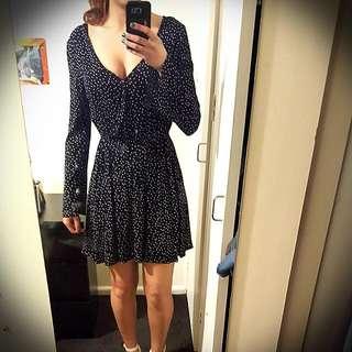 Black Polka Dot Plunge Neck Dress