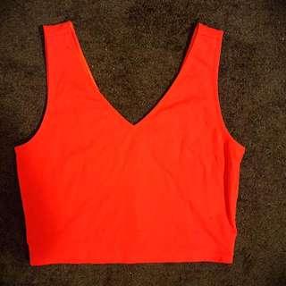 Red Crop Top Bardot Size 10
