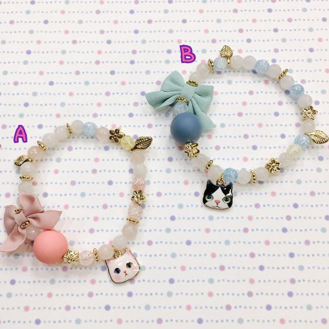 100%正韓 彩色串珠 可愛貓咪 彈性手鍊
