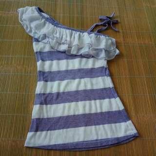 [二手]斜肩綁帶無袖紫色條紋上衣
