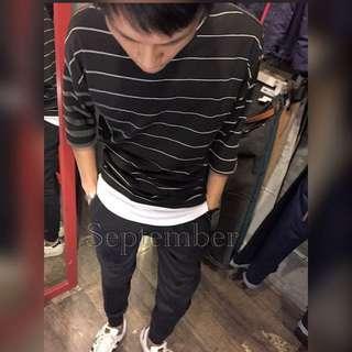 [超時尚!!!!] 韓標落肩五分袖條紋寬版上衣《黑/白/灰》質感線條~羅紋彈性