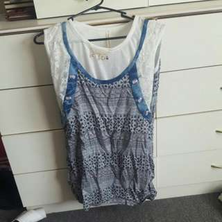 Blue And White Dress Type Tee