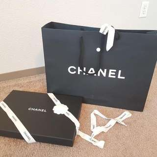Chanel Classic Black Paper Bag with hard box and original ribbon